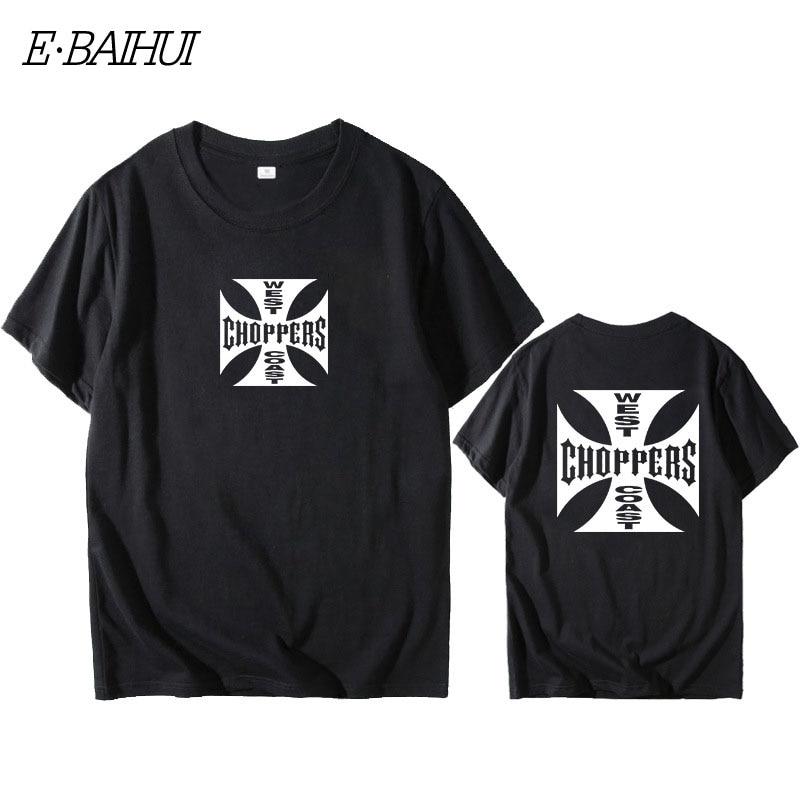 E-BAIHUI Fashion T Shirt Men West Coast Choppers Print T-Shirt O-Neck T-Shirt Cotton Short Sleeve Summer Tops Tees W0158