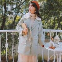New Women Blends Coat Solid Full Sleeve Turn down Collar Lambs Wool Coats Outerwear Pea green 8894