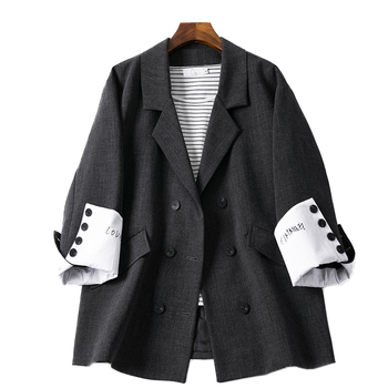 Korean Retro Ladies Blazer Stylish Simple Solid Black Loose Suit Jacket Casual Spring Autumn Women Large Size MM60NXZ