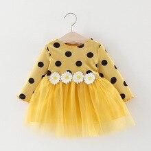 Осеннее платье для малышей; платье с длинными рукавами для младенцев; платья принцессы для маленьких девочек; модная одежда в горошек с ромашками для маленьких девочек