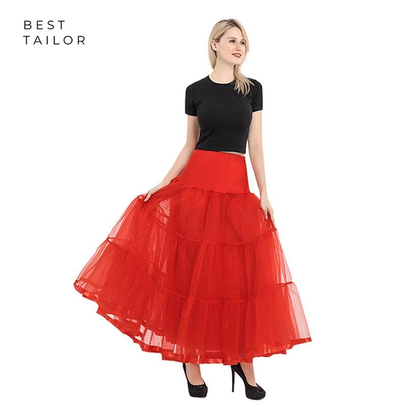 Red Soft Fluffy Swing Petticoats Underskirt Sewing Pattern Women A Line White Black Rockabilly Slip Ankle Length Long Crinoline