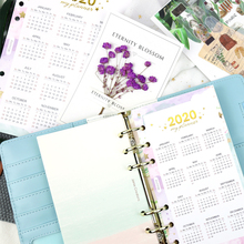 1Pcs 2020 Calendar Divider Home Page Watercolor Refill for S