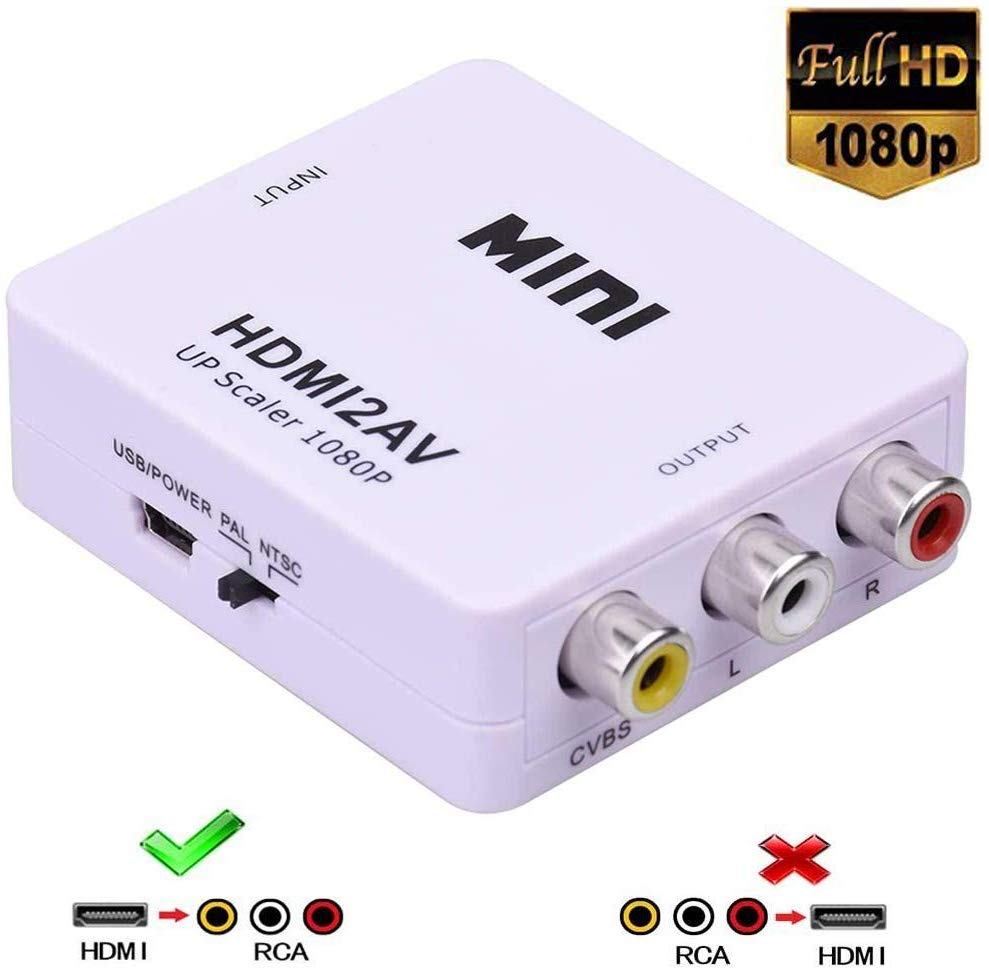 HDMI To RCA, HDMI To AV,1080P HDMI To 3RCA CVBs Composite Video Audio Converter Adapter Supports PAL/NTSC For TV Stick, DVD