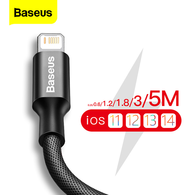 Baseus USB Cable For iPhone 12 11 Pro Max X XR XS 8 7 6 6s iPad Fast Data Charging Charger USB Wire Cord Mobile Phone Cables 5m 1