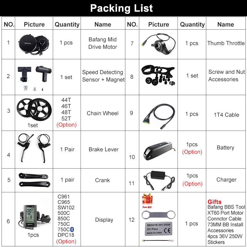Clearance 48V 750W Bafang BBS02B Mid Drive Motor Electric Bike Conversion Kit with Lock 12Ah/17.5Ah Bicycle Battery built in Samsung Cell 4