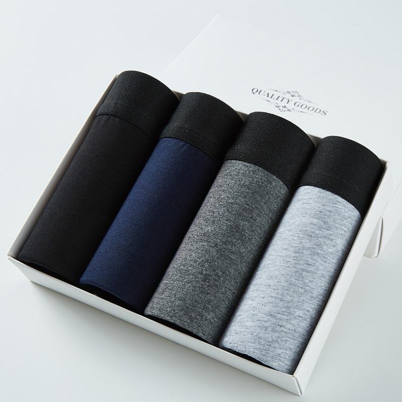 4pcs/lot  Male Panties Cotton Men's Underwear Boxers  Solid Shorts Brand Underpants KC01