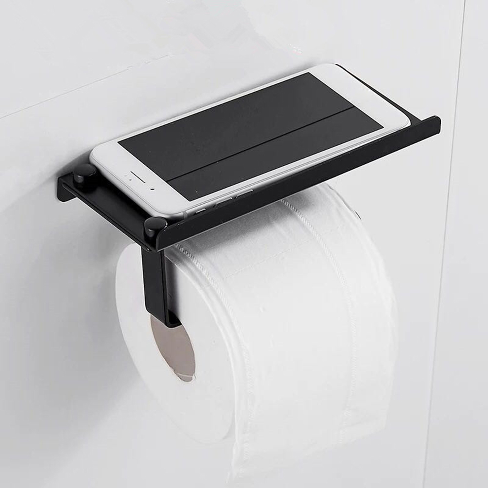 Wall Mounted Toilet Paper Tissue Paper Holder with Moblie Phone Storage Shelf Screw Set Kitchen Paper Roll Rack Bathroom Access