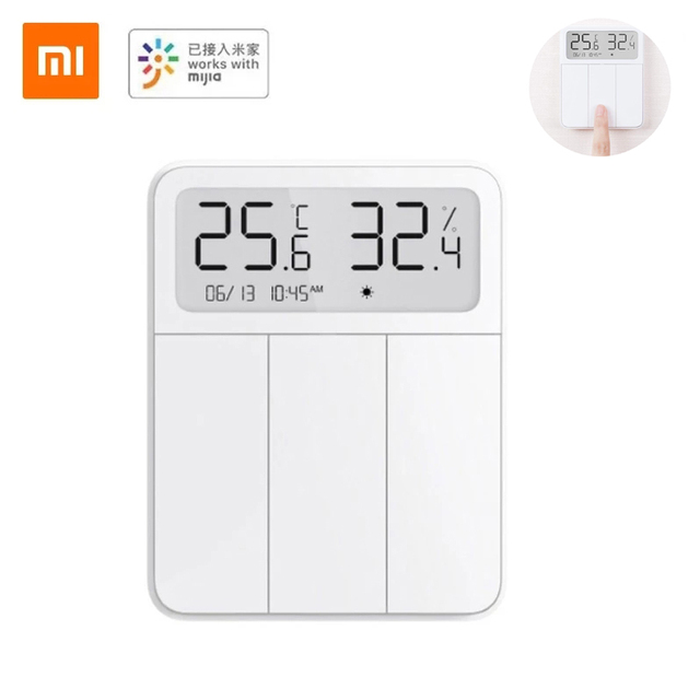 2021 Original Xiaomi Mijia Smart Screen Display 3 Key Switch with Temperature and Humidity Sensor Work with Mi Home APP