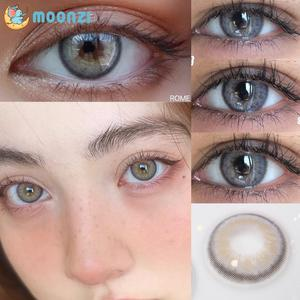 MOONZI ROME gray cat soft contact lens small pupil Colored Contact Lenses for eyes yearly degrees 2pcs/pair Myopia prescription