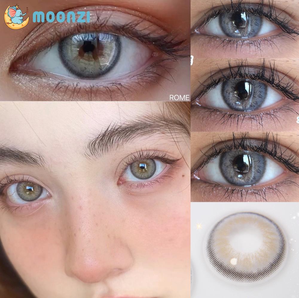 Moonzi roma gato cinza macio lente de contato pupila pequena colorido lentes de contato para olhos anual graus 2 pcs/par miopia prescrição