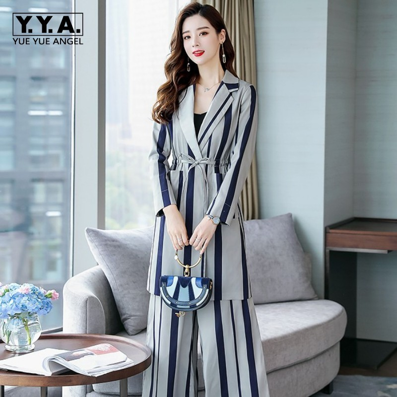 Office Ladies New Striped Two Piece Set Women Business Work Outfits Long Blazer Coat Belted Trench Slim Fit Wide Leg Pants Suits