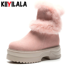 Kiiyilala Cow Suede Winter Snow Boots Women Shoes Plush Wedge Chunky Heel Platform Shoes Rubbit Fur Woman Booties Ankle Boots