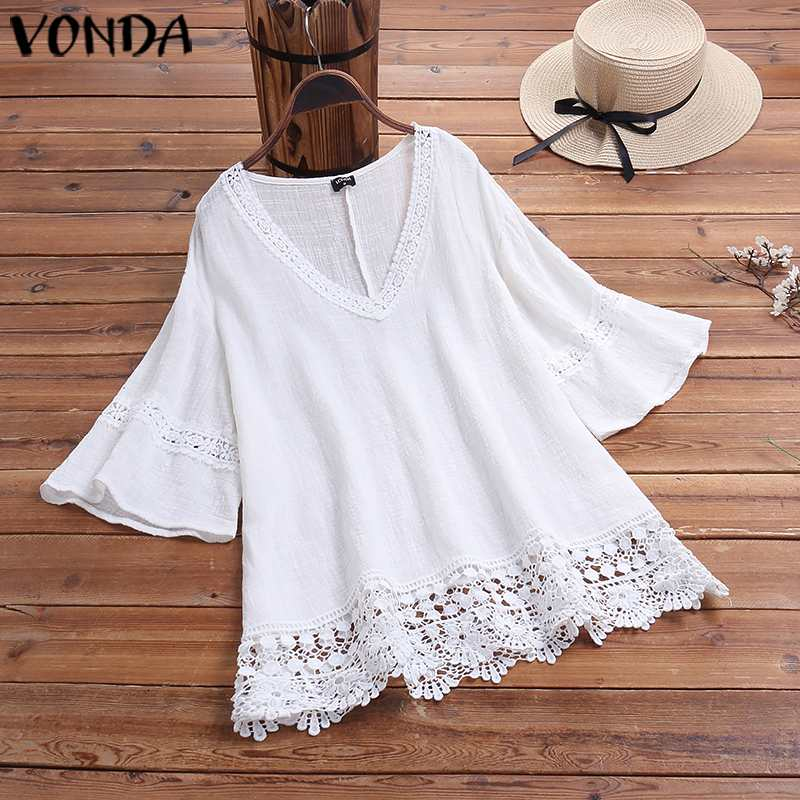 VONDA Fashion Women Blouses 2019 Female Sexy V Neck Half Sleeve Solid Color Shirts Plus Size Bohemian Tops And Blouse 5XL Blusas