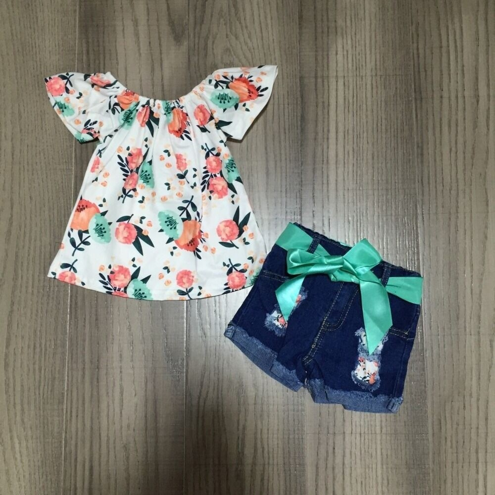 Baby Girls Spring Outfits Girl Floral Raglans With Belt Jeans Baby Children Summer Clothing