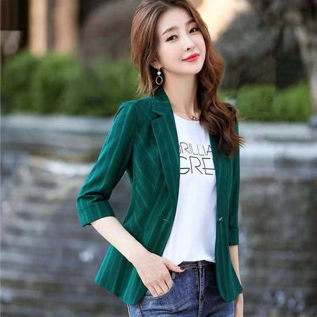 2021 Korean Fashion Women Short Blazers And Jackets Seven Sleeve Outerwear Elegant Ladies Coats Work Wear Black Pink Plus Size 4