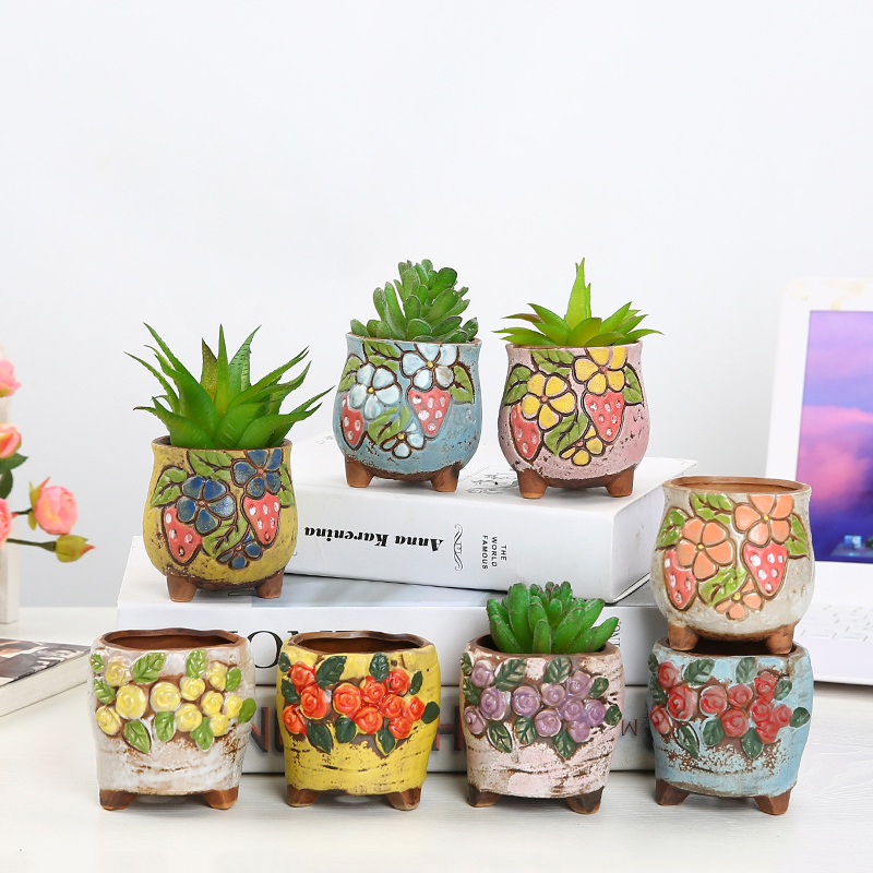 Korean Colored Embossed Succulent Plant Pot With Feet Hand-painted Strawberry Succulent Flower Pot Balcony Garden Green Plants Just6F