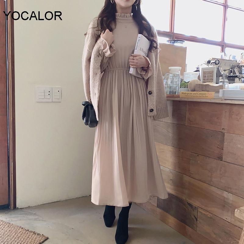 Yocalor 2020 Summer Elegant Women A-line Dress Chiffon Midi Dress Stand Collar Flare Sleeve Elastic Waist Pleated Vestidos