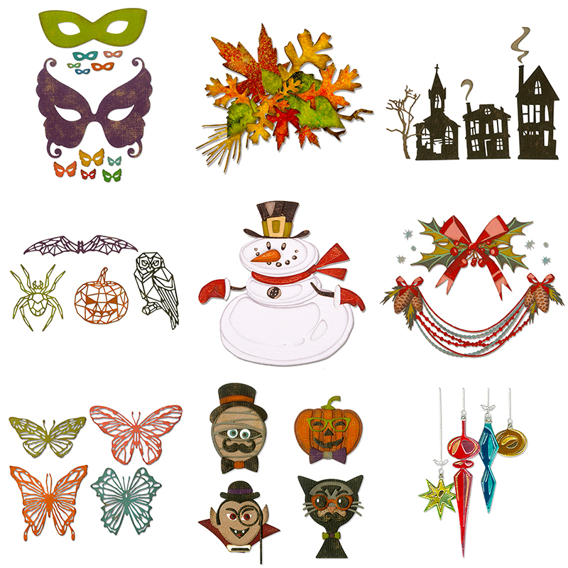 2020 Hot New Halloween Die Cut Scrapbooking Craft Foil Christmas And Animal Sentiment Metal Cutting Dies For Card Making Stamp