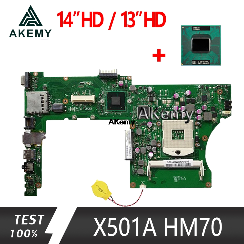Akemy X401A Laptop Motherboard For ASUS F401A X401A X301A Test Original Mainboard HM70 14