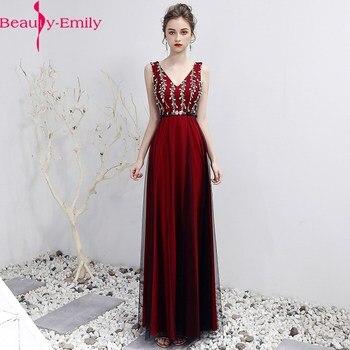 Red Evening Dresses Long A-Line V Neck Sleeveless Tulle Elegant Formal Party Dresses Appliques Beaded Dress Vestido De Festa