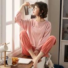 Розовый желтый fallsweet Однотонный женский пижамный комплект