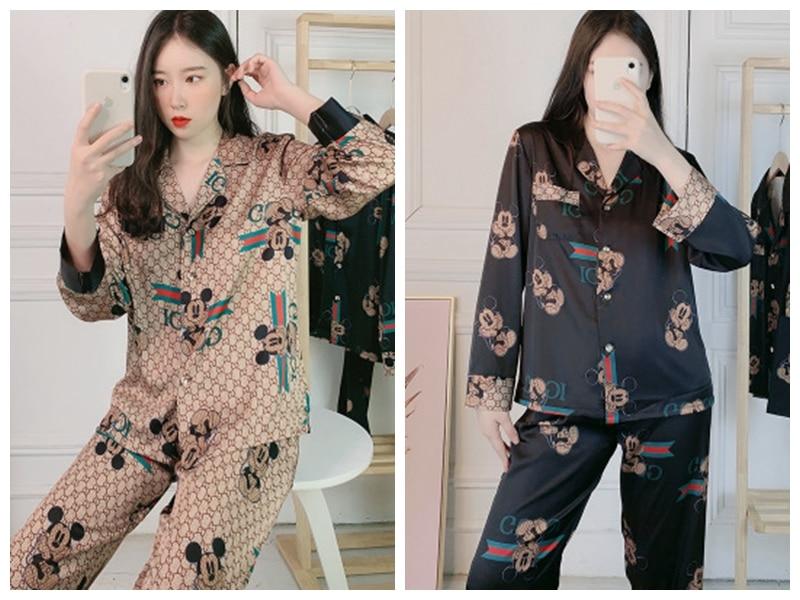 Women's Spring Cartoon Silk Long Sleeves 2 Pcs Set Sleepwear&Cute Mike Mouse Pajamas Set nightwear 2 piece set|Pajama Sets| - AliExpress