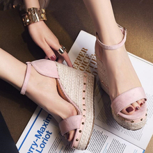 Women Sandals Summer 2018 Platform Sandals High Heels Shoes Ankle Strap Ladies Sandals Rivet Casual Footwear Pink Black все цены