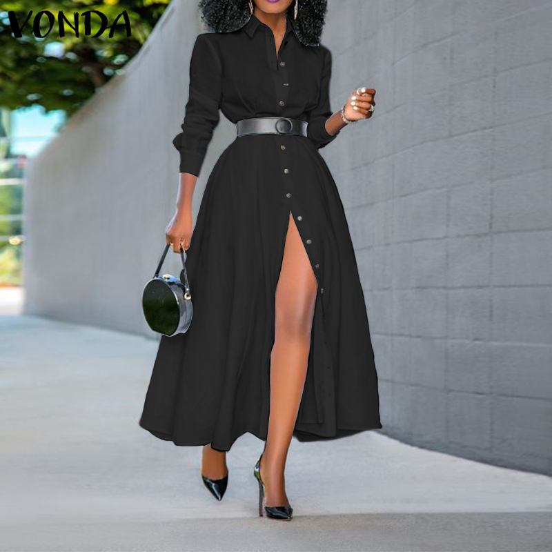 Women Dress Vintage Lapel Neck Long Shirt Dress Ladies Office Sundress VONDA 2020 Spring Summer Split Party Vestido Plus Size