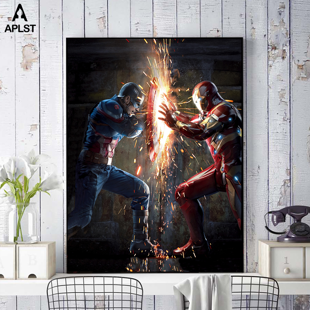 I AM IRON MAN Avengers Canvas Posters Wall Art Home Decor Pictures Prints Paintings for Bar Cafe Bedroom Dormitory Living room in Painting Calligraphy from Home Garden
