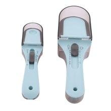 Cucharas medidoras ajustables de plástico, 2 uds., utensilio de cocina, utensilios de medición para hornear