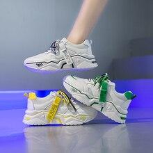Tênis robusto com cores mistas, tênis feminino casual, malha respirável, calçado plataformaSap. Vulcaniz. Fem.