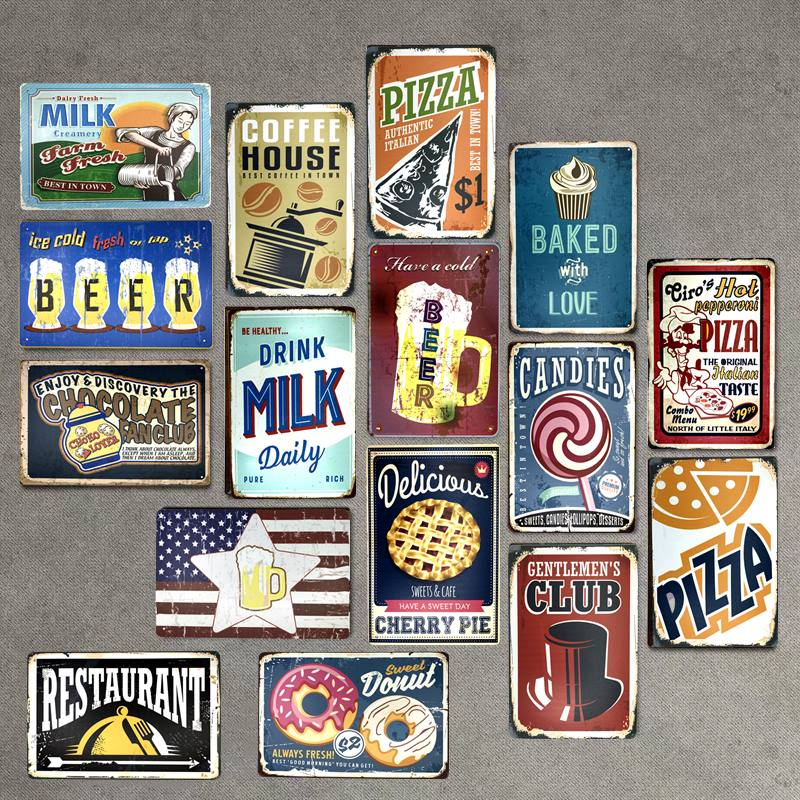 Food Drink Beer Candies Pizza Retro Plaque Metal Tin Signs Bar Pub Club Cafe Home Signboard Wall Decor Vintage Nostalgia Plates
