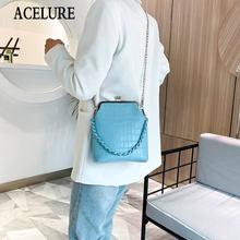 ACELURE Macaron Farbe Kleine Metall Kette Schulter Tasche für Frauen Alle-spiel Umhängetasche Mode Stein Muster PU Leder clip Tasche
