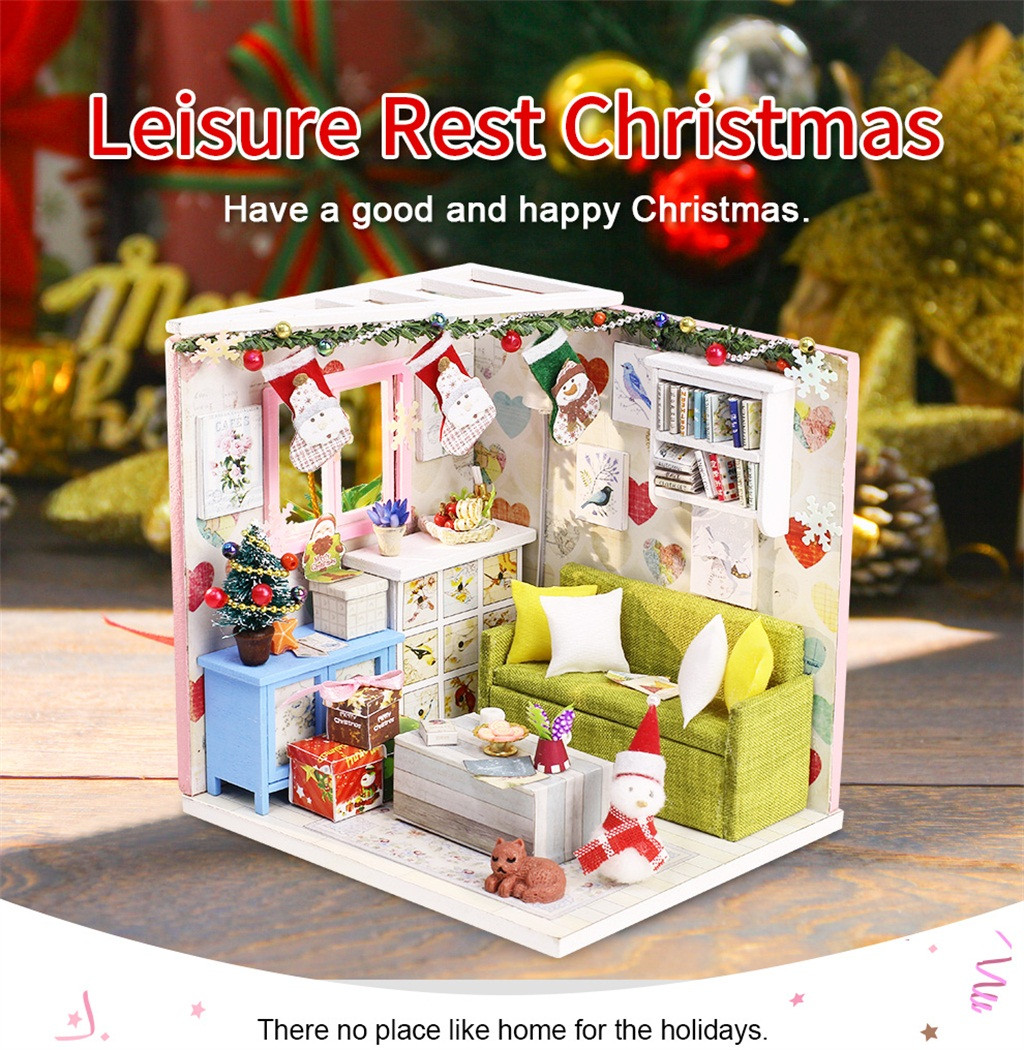 Diy Miniature Dollhouse Rooms Wooden Doll House For Lol Large Furniture LED House Decorate Creative Christmas Gifts L919