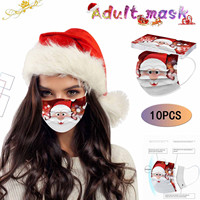 Headband masque scarf  Face Mask 10pcs Christmas Print Masks for Protection Disposable Earloop Mask mascarillas mascarar бандана