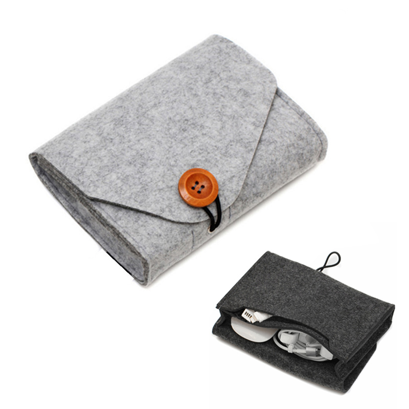 Mini Data Cable Mouse Charger Storage Bag Key Coin Package Felt Earphone SD Card Power Bank storage bag Home Storage Organizer