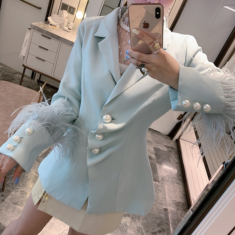 Elegant Ladies Suits Jackets New Spring Autumn All-match Feather Long Sleeve Pearl Single Breasted Women Blazers Jacket Coat