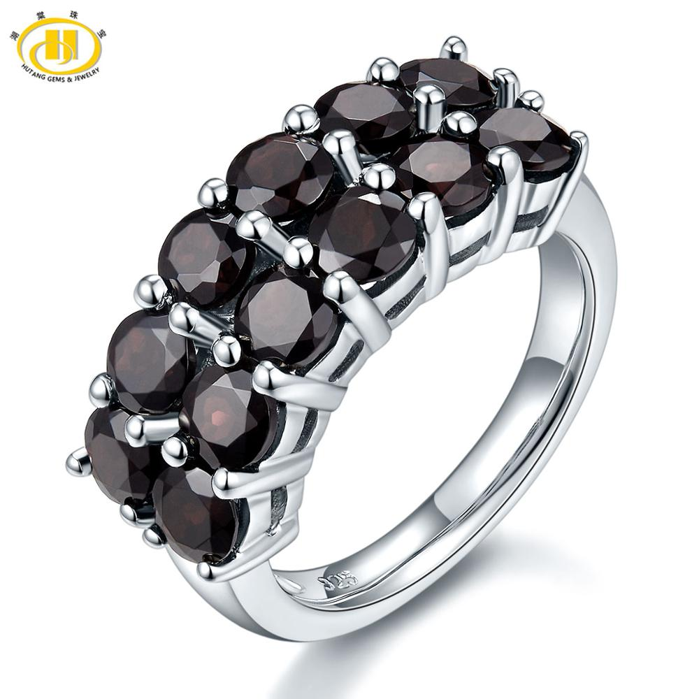 HUTANG 4.2ct Natural Black Garnet Ring for Women, 925 Sterling Silver Rings Red Pomegranate Gemstone Fine Jewelry Christmas Gift