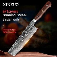 XINZUO 7 inç Nakiri bıçağı japon 67 katmanlı şam Samurai çelik mutfak bıçağı gülağacı kolu şef bıçağı Cleaver çatal bıçak takımı
