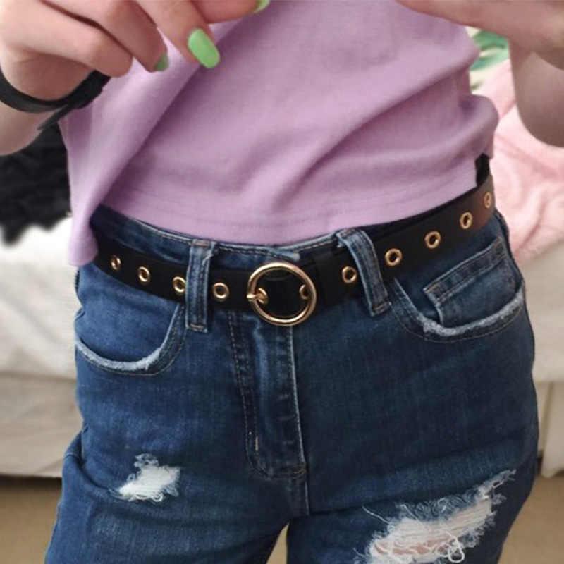 66 arten Frauen Männer PU Gürtel Gold Silber Runde Legierung Pin Schnalle Bund Mode Student Jeans Designer Geschenk Taille Strap 105cm
