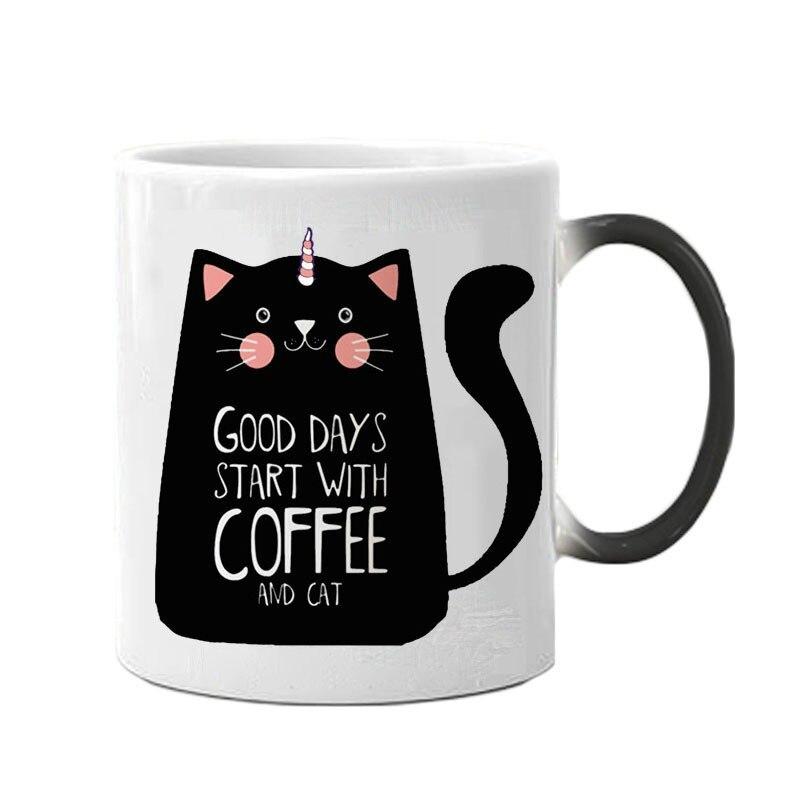 Креативные цветные кружки с единорогом и котом, милый подарок на день рождения, чашка для обесцвечивания, керамическая кофейная кружка, Вол...