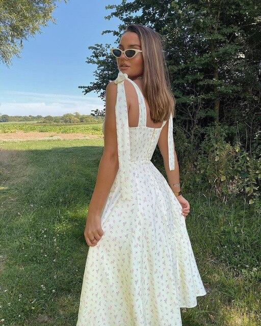 Floral Print Midi Bow Strap Dress  3