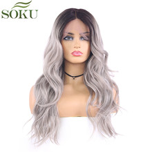 SOKU Synthetic Lace Front Wigs For Black Women 18 Inch Wave L Part