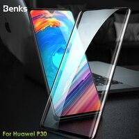 Benks vpro hd proteção completa vidro temperado para huawei p30 0.3mm protetor de tela frontal borda curvada para huawei filme temperado