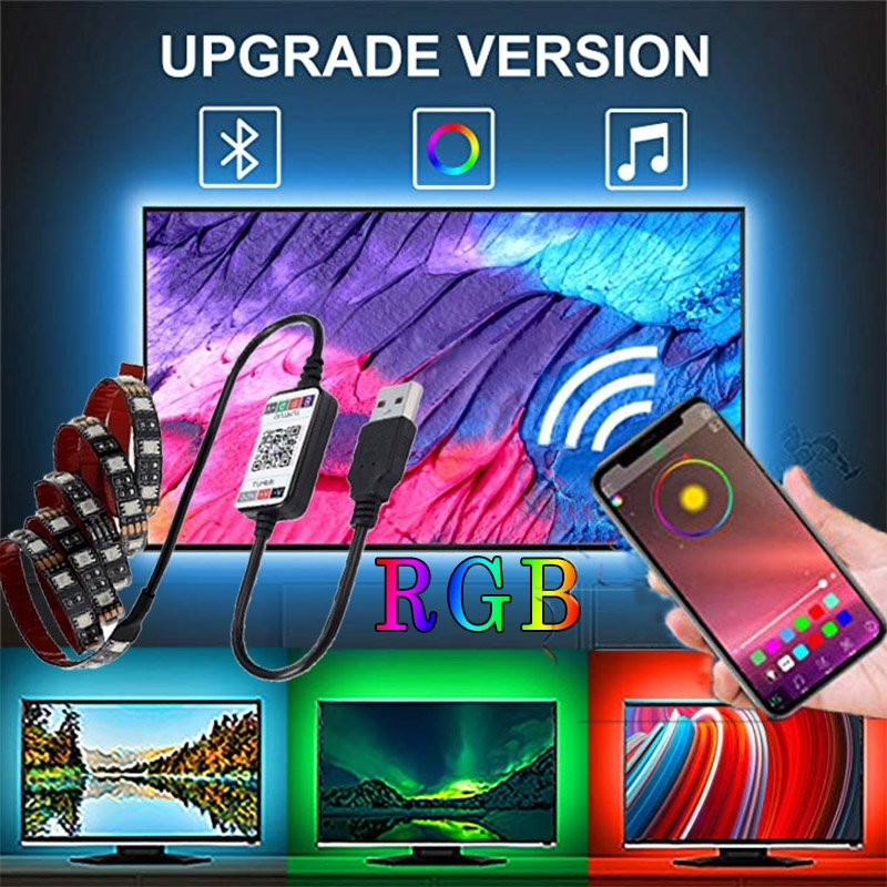 0.5/1/2M RGB USB LED Strip Lights Can Sync for Music Cellphone Bluetooth Controller,TV Backlights Strip,Motorcycle LED Light Kit