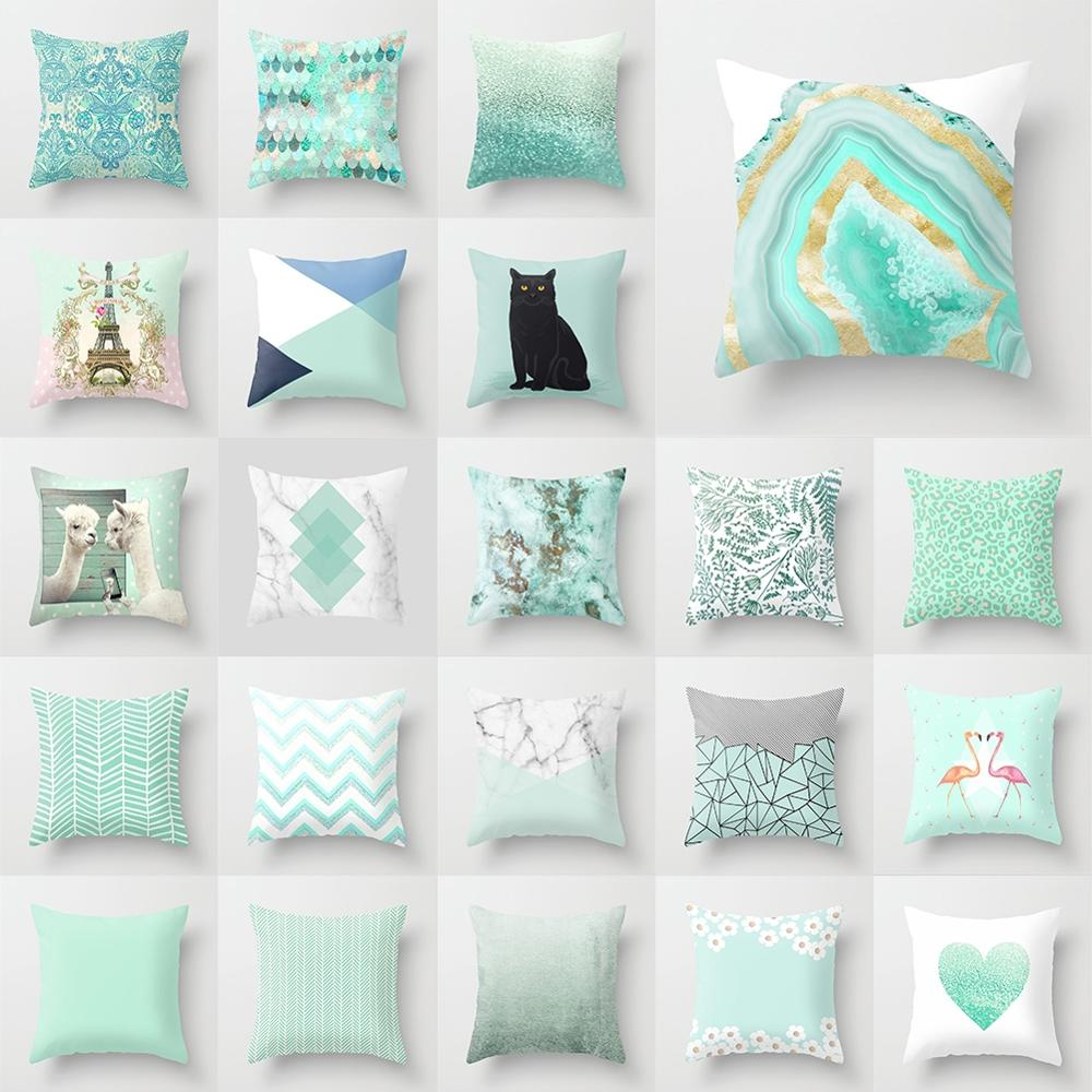New Mint Green Blue Pillow Case Sofa Bedroom Seat Cushion Cover Fashion Modern Nordic Geometric Home Decoration 45*45 Cm