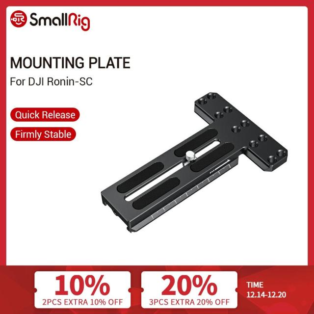 "SmallRig Counterweight Mounting Plate With 1/4"" 20 Threaded Holes for DJI Ronin SC Gimbal Stabilizer Quick Release Plate   2420"