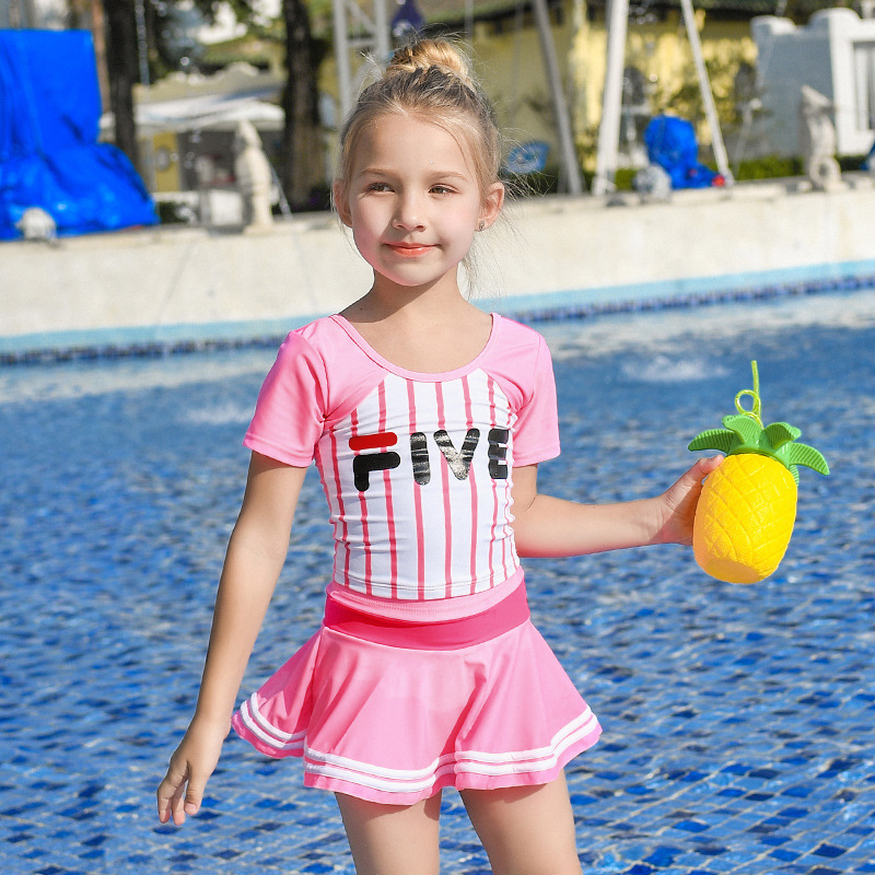 2019 New Style Hot Sales Two-piece Swimsuits Stripes Athletic Hipster Sweet Cute Skirt Girls KID'S Swimwear