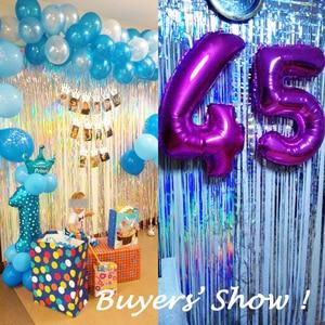 Image 1 - 2M Silver/Multi color Sequin Foil Curtain Rain Fringe Tassel Wedding Backdrop Birthday Party Decoration for Anniversary Decor