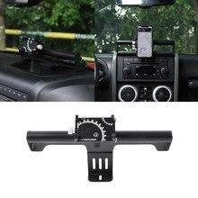 El centro de la consola de soporte para teléfono GPS soporte de montaje soporte para Jeep Wrangler JK 2007, 2008, 2009, 2010, 2011-2017 de hierro negro accesorio del coche